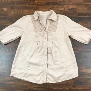Tops - Linen Button Down Tunic with Circle Pattern